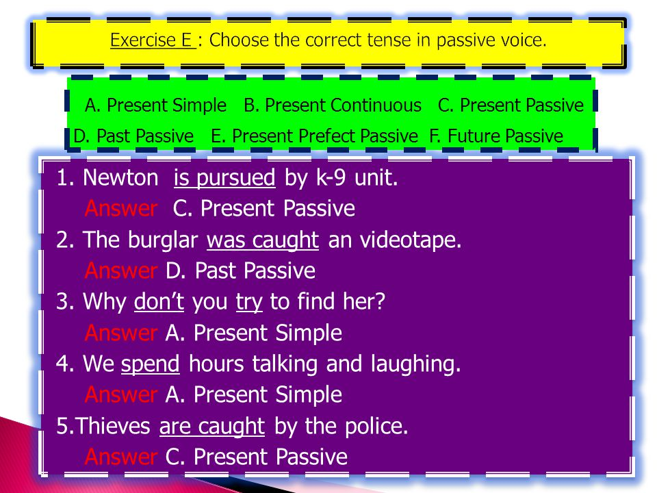 Exercise E : Choose the correct tense in passive voice.