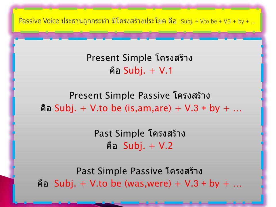 Passive Voice ประธานถูกกระทำ มีโครงสร้างประโยค คือ Subj. + V.to be + V.3 + by + …