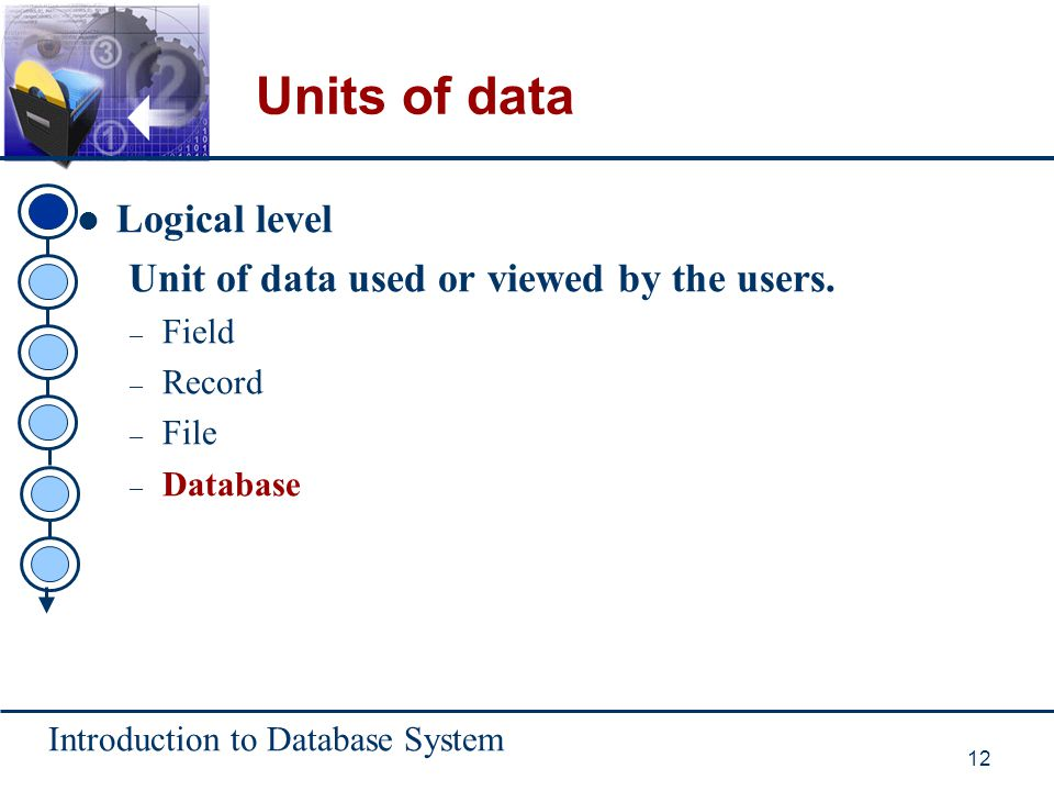 Units of data Logical level Unit of data used or viewed by the users.