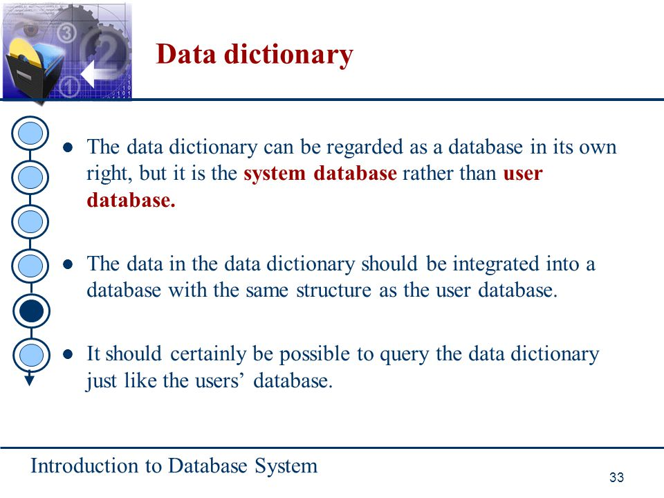 Data dictionary The data dictionary can be regarded as a database in its own right, but it is the system database rather than user database.