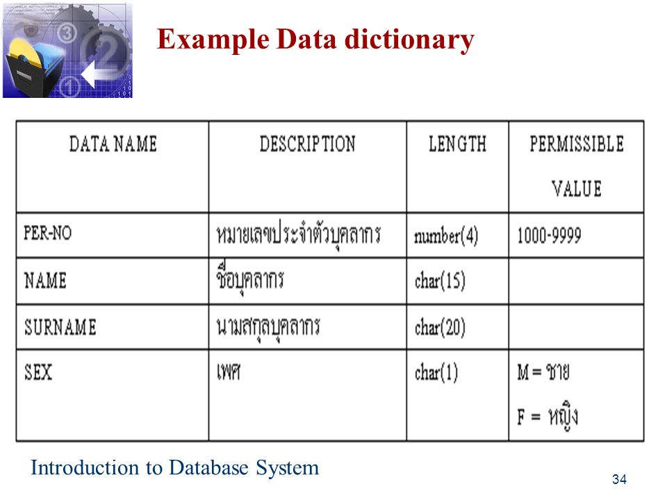 Example Data dictionary