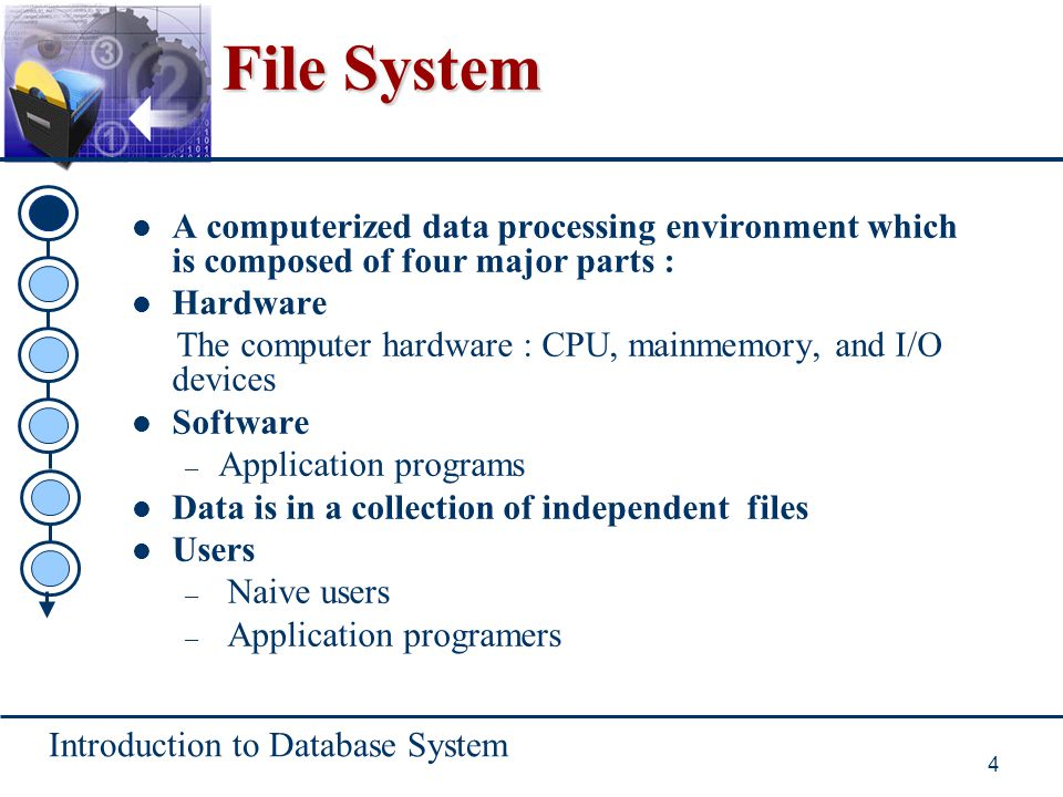 File System A computerized data processing environment which is composed of four major parts : Hardware.