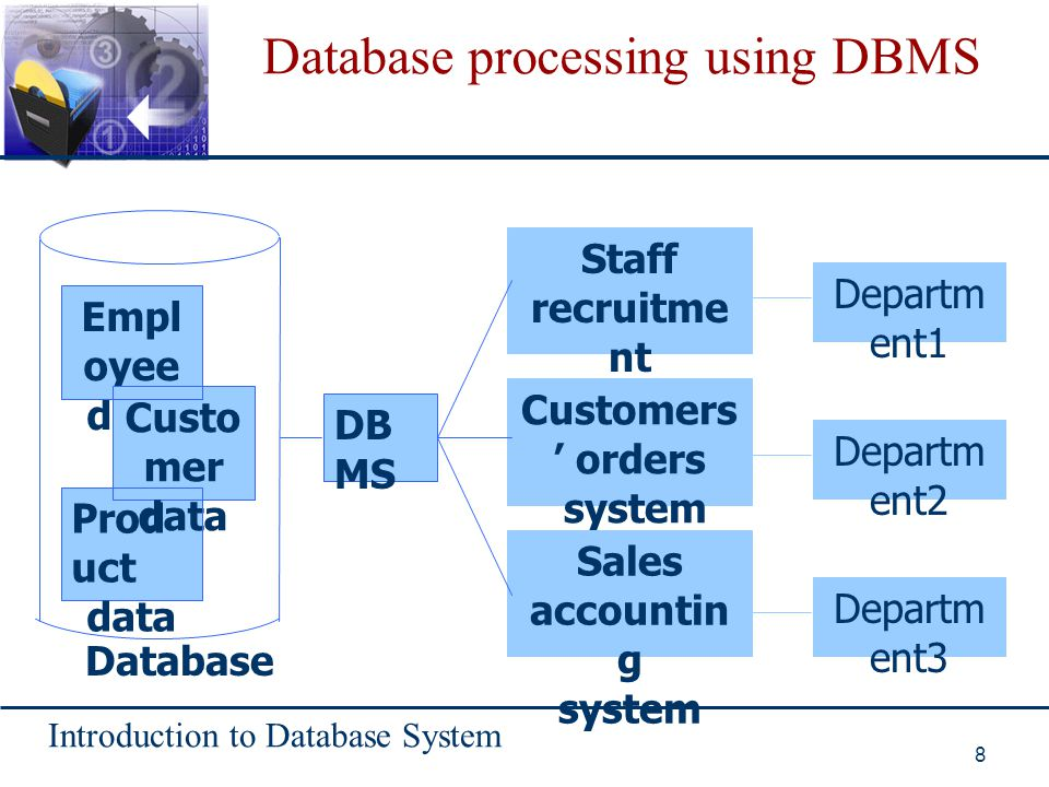 Database processing using DBMS