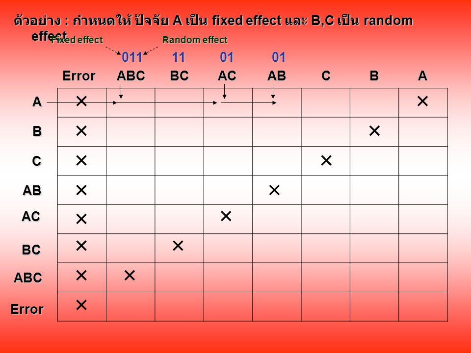 ตัวอย่าง : กำหนดให้ ปัจจัย A เป็น fixed effect และ B,C เป็น random effect