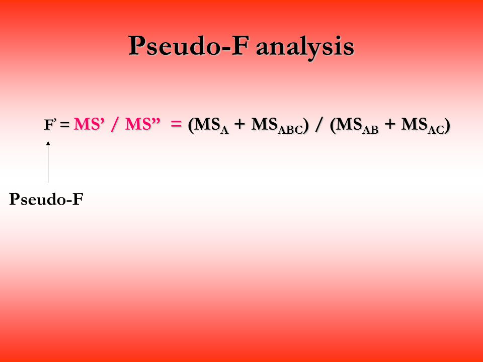 Pseudo-F analysis Pseudo-F
