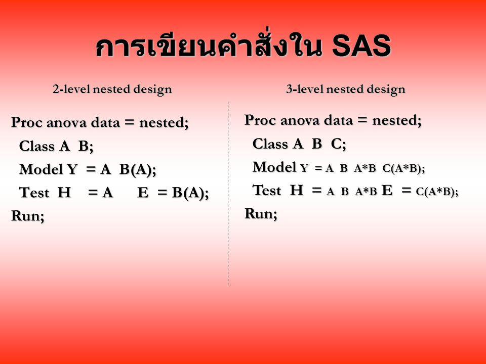 การเขียนคำสั่งใน SAS Proc anova data = nested;