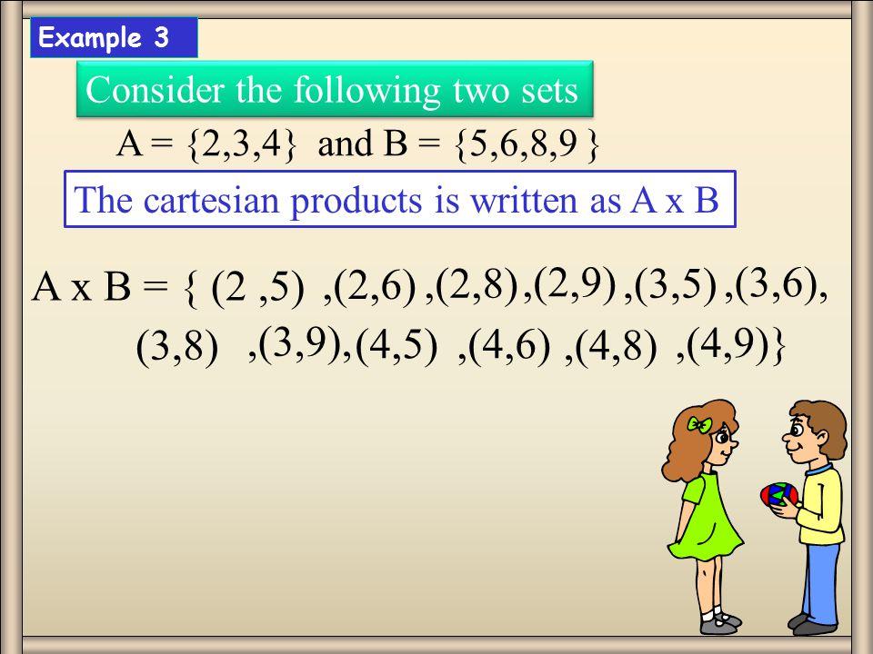 A x B = { (2 ,5) ,(2,6) ,(2,8) ,(2,9) ,(3,5) ,(3,6), (3,8) ,(3,9),