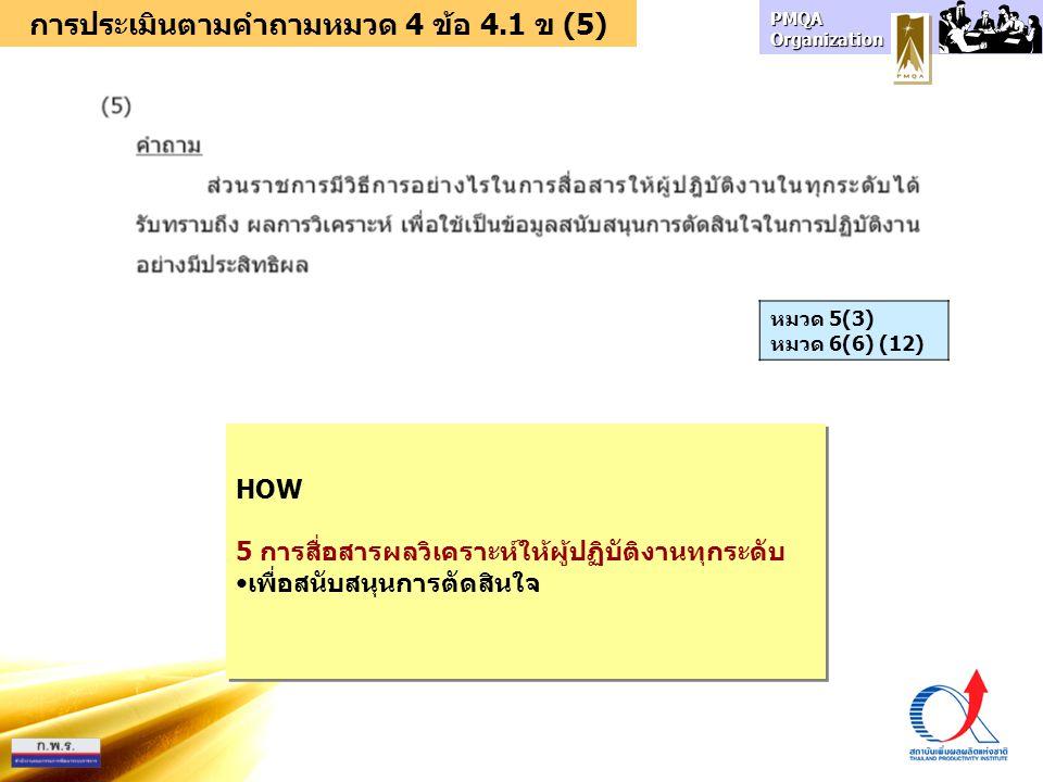 การประเมินตามคำถามหมวด 4 ข้อ 4.1 ข (5)