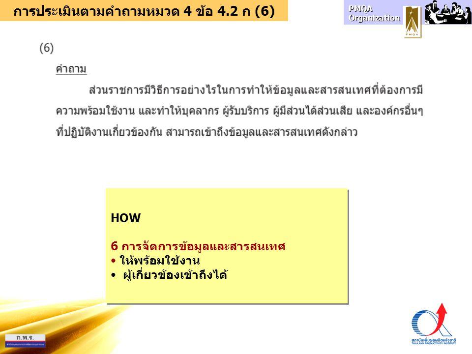 การประเมินตามคำถามหมวด 4 ข้อ 4.2 ก (6)