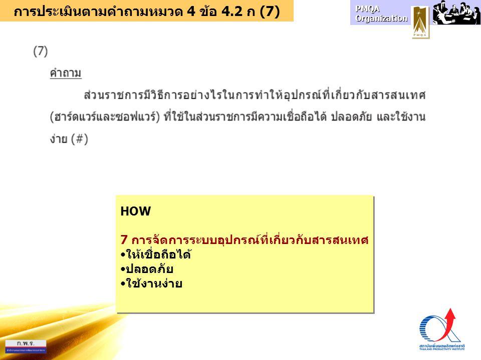 การประเมินตามคำถามหมวด 4 ข้อ 4.2 ก (7)