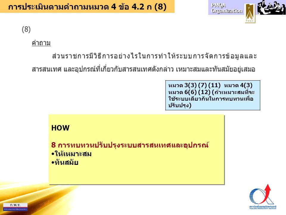 การประเมินตามคำถามหมวด 4 ข้อ 4.2 ก (8)