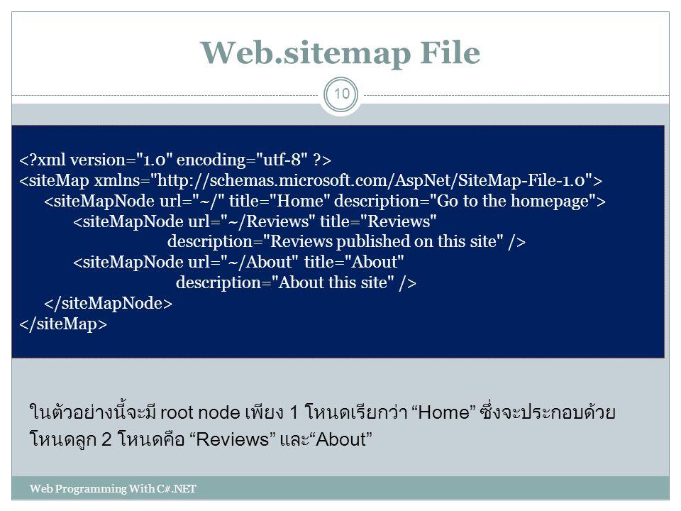 Web.sitemap File ในตัวอย่างนี้จะมี root node เพียง 1 โหนดเรียกว่า Home ซึ่งจะประกอบด้วย. โหนดลูก 2 โหนดคือ Reviews และ About
