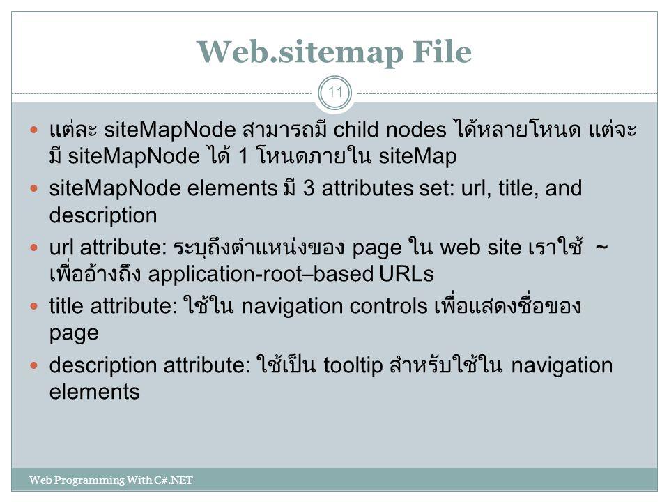 Web.sitemap File แต่ละ siteMapNode สามารถมี child nodes ได้หลายโหนด แต่จะมี siteMapNode ได้ 1 โหนดภายใน siteMap.