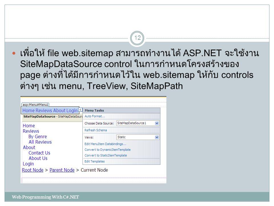 เพื่อให้ file web. sitemap สามารถทำงานได้ ASP