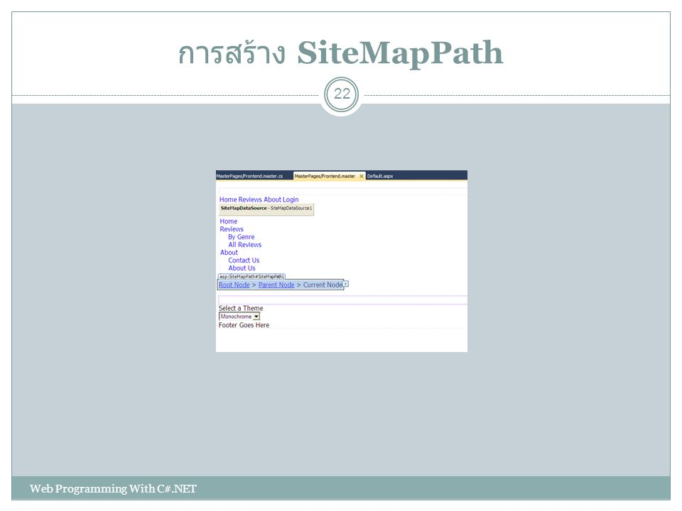 การสร้าง SiteMapPath Web Programming With C#.NET