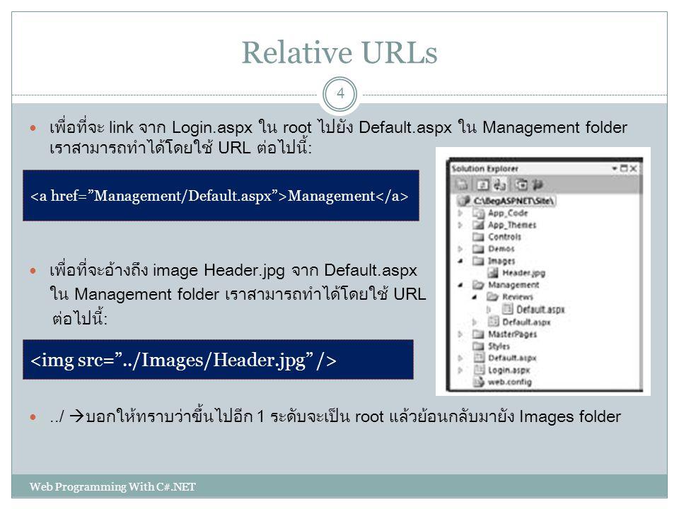 Relative URLs <img src= ../Images/Header.jpg />