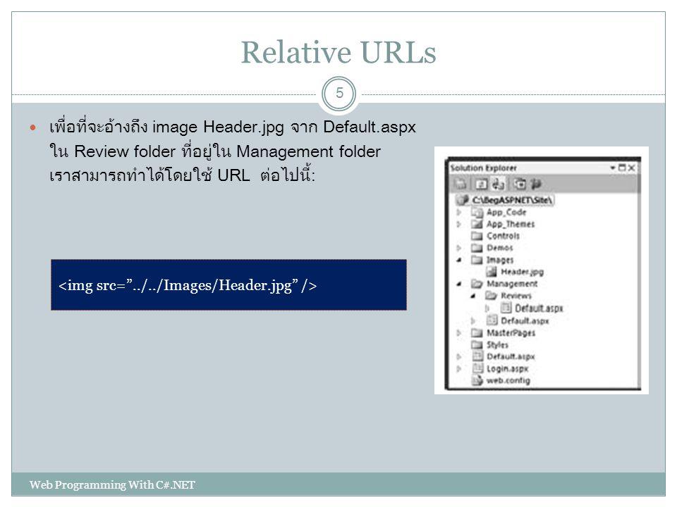 Relative URLs เพื่อที่จะอ้างถึง image Header.jpg จาก Default.aspx