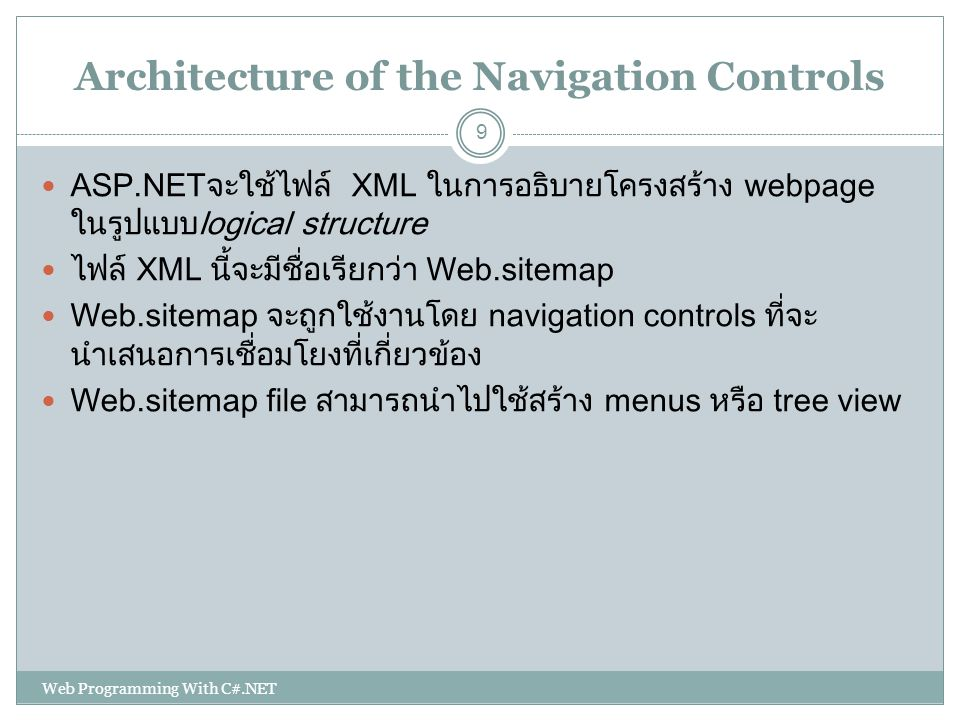 Architecture of the Navigation Controls