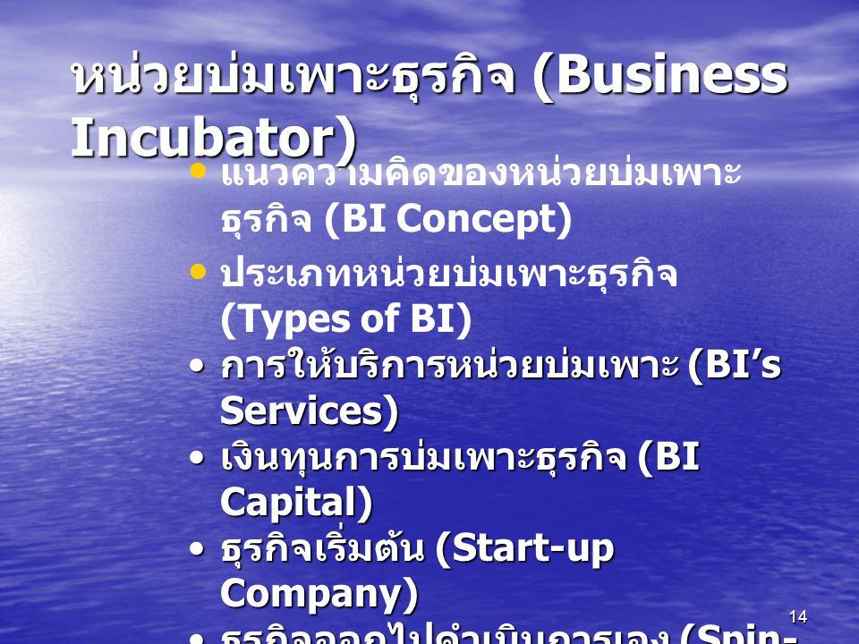 หน่วยบ่มเพาะธุรกิจ (Business Incubator)