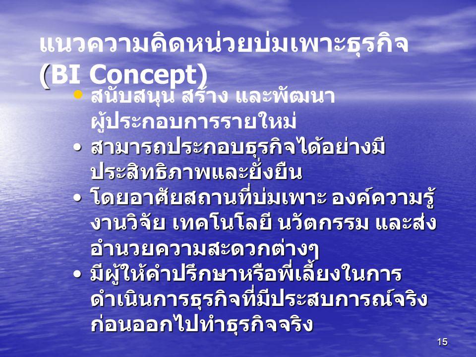แนวความคิดหน่วยบ่มเพาะธุรกิจ (BI Concept)