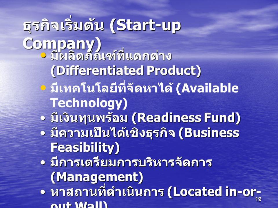 ธุรกิจเริ่มต้น (Start-up Company)