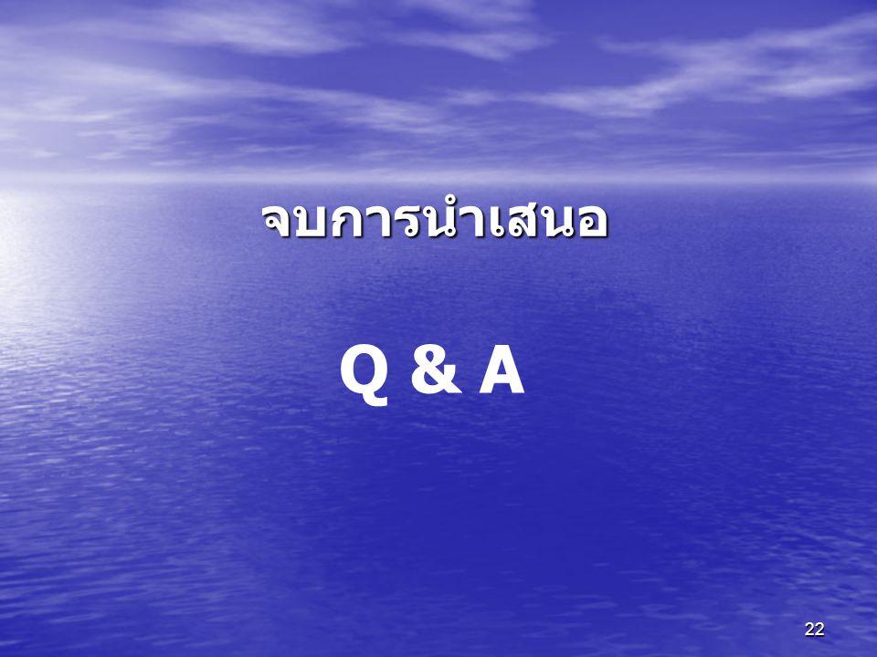 จบการนำเสนอ Q & A