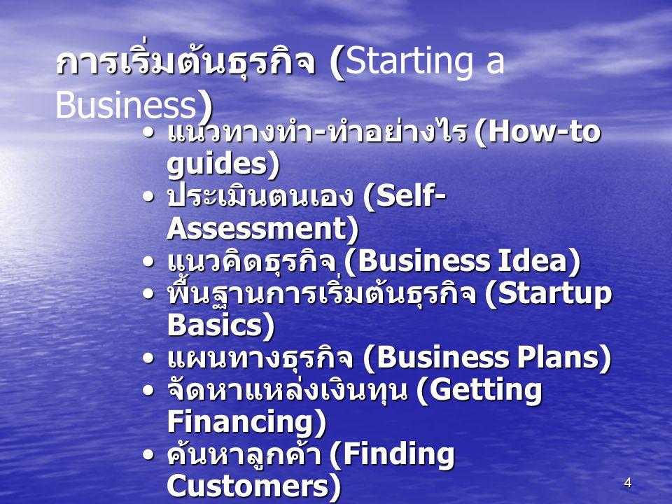 การเริ่มต้นธุรกิจ (Starting a Business)
