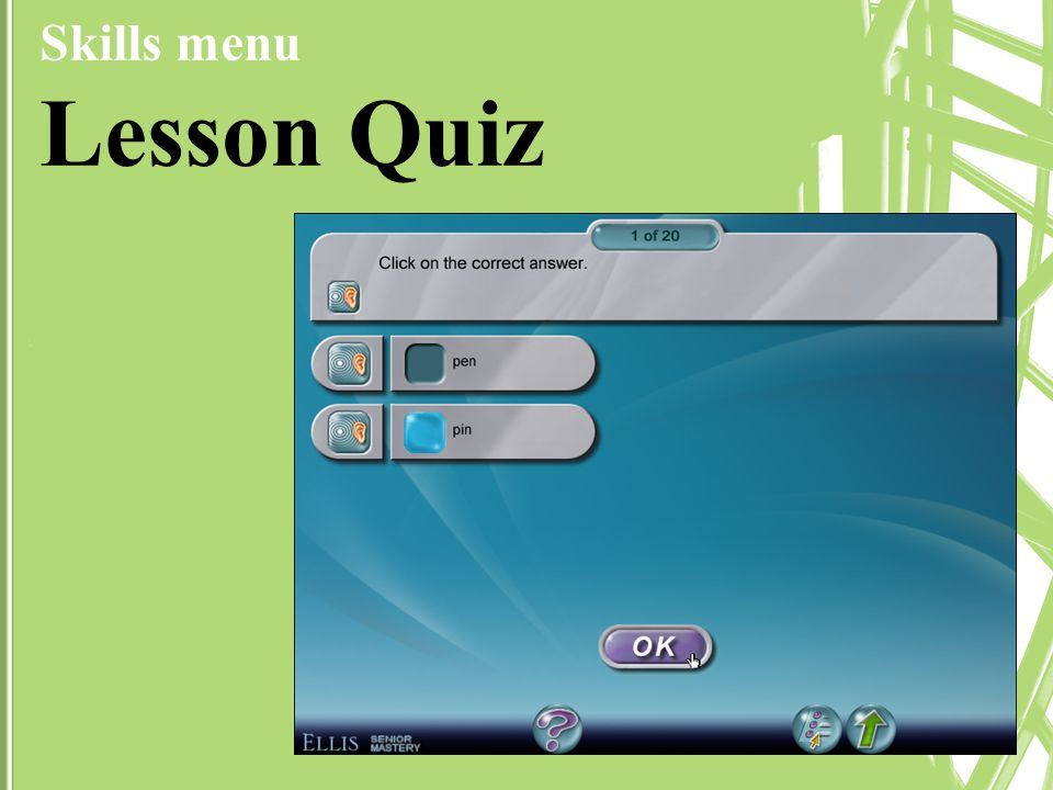 Skills menu Lesson Quiz
