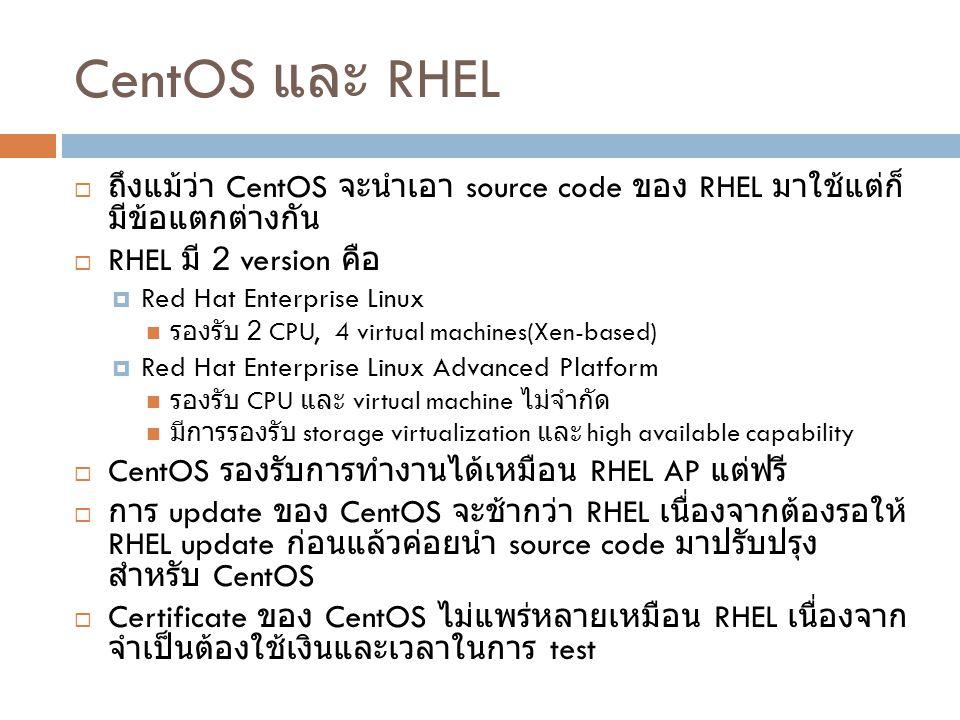 CentOS และ RHEL ถึงแม้ว่า CentOS จะนำเอา source code ของ RHEL มาใช้แต่ก็มีข้อแตกต่างกัน. RHEL มี 2 version คือ.
