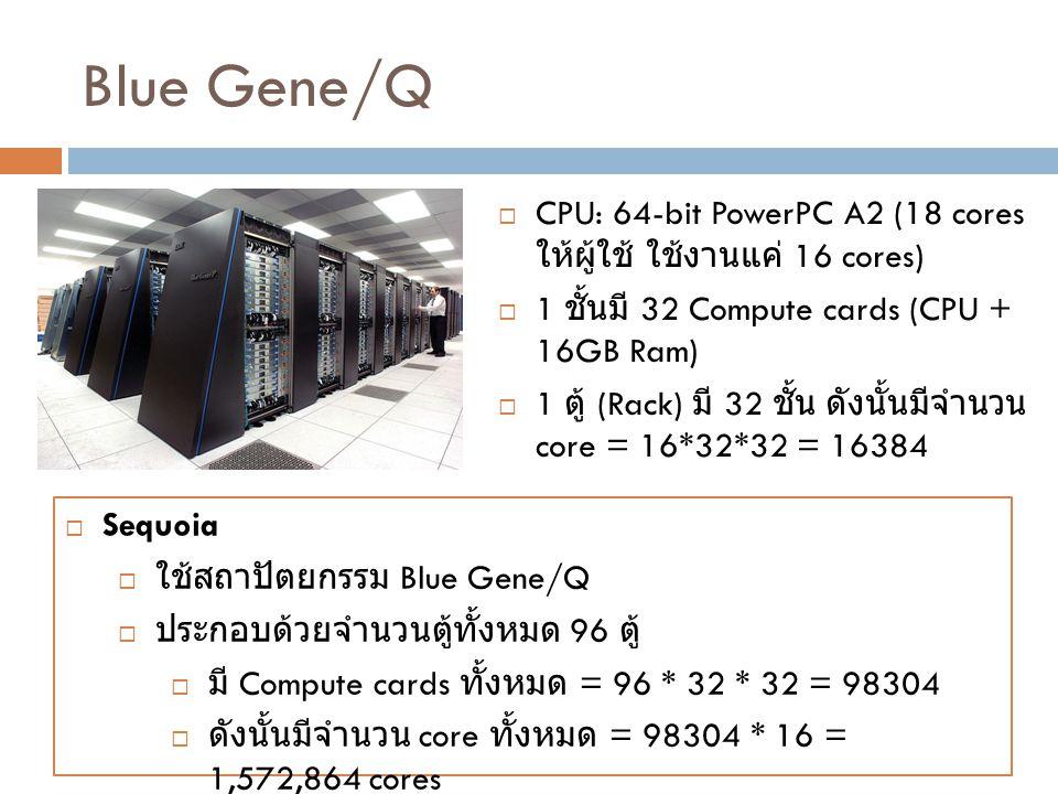 Blue Gene/Q CPU: 64-bit PowerPC A2 (18 cores ให้ผู้ใช้ ใช้งานแค่ 16 cores) 1 ชั้นมี 32 Compute cards (CPU + 16GB Ram)