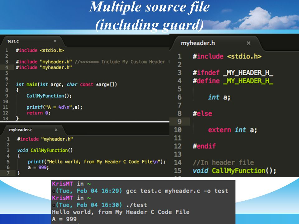 Multiple source file (including guard)