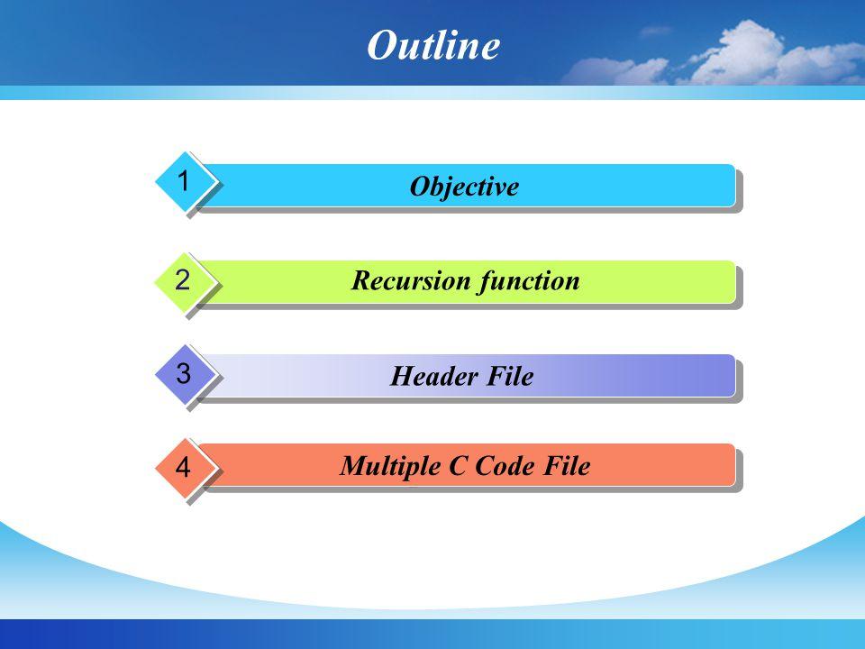 Outline 1 Objective 2 Recursion function 3 Header File 4