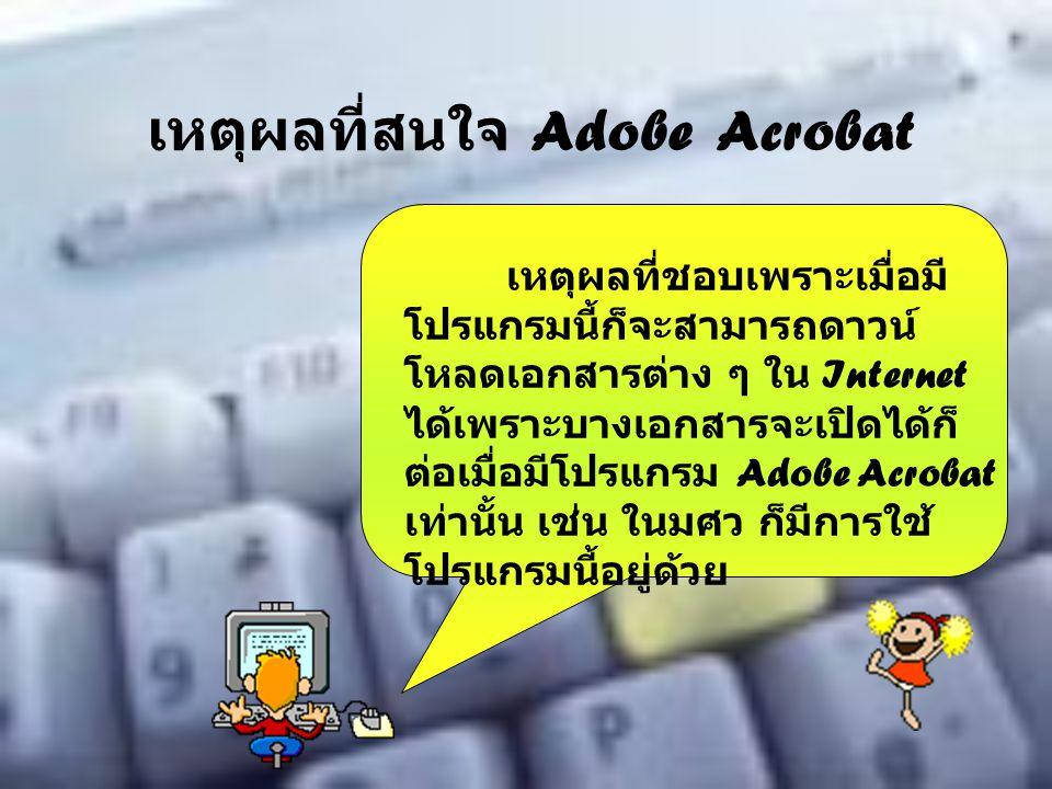 เหตุผลที่สนใจ Adobe Acrobat