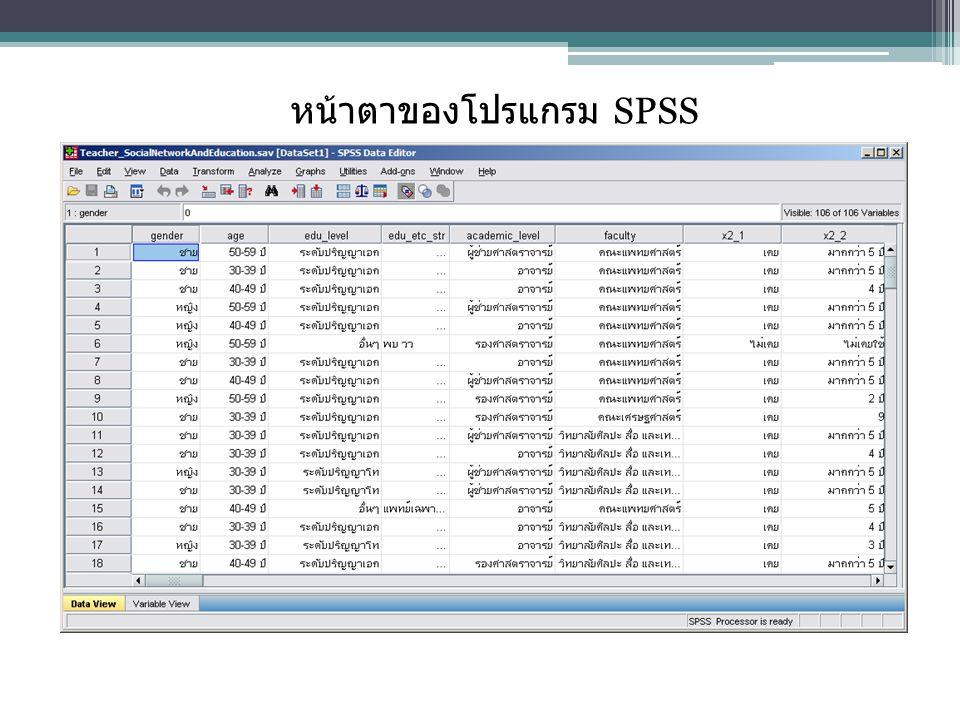 หน้าตาของโปรแกรม SPSS