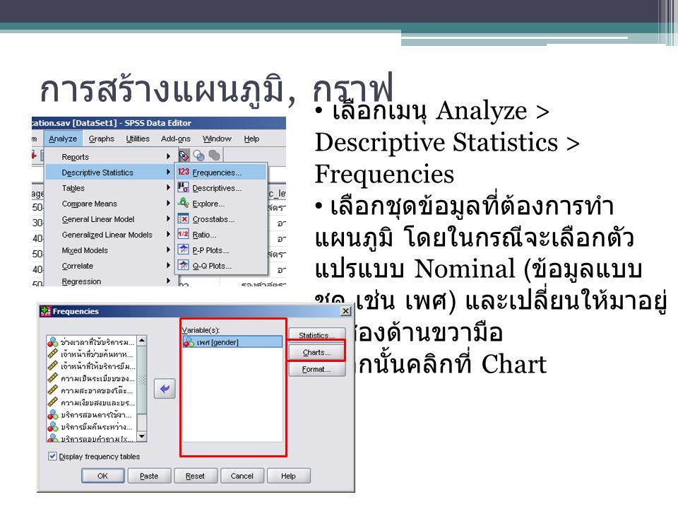 การสร้างแผนภูมิ, กราฟ เลือกเมนุ Analyze > Descriptive Statistics > Frequencies.