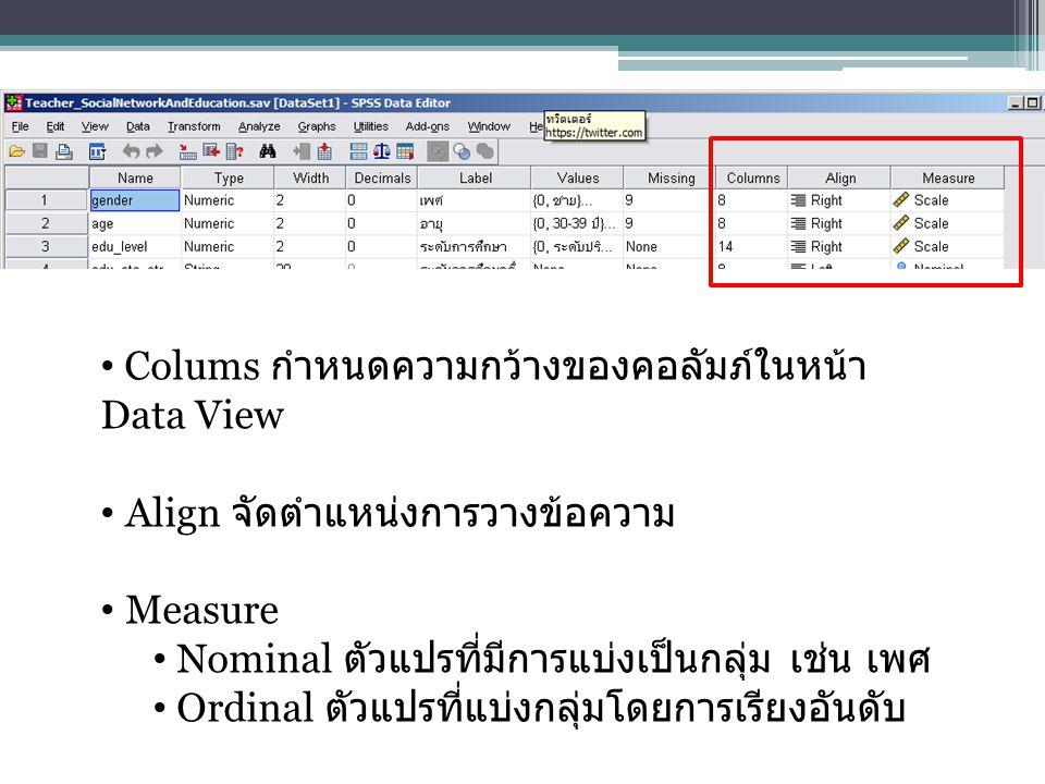 Colums กำหนดความกว้างของคอลัมภ์ในหน้า Data View