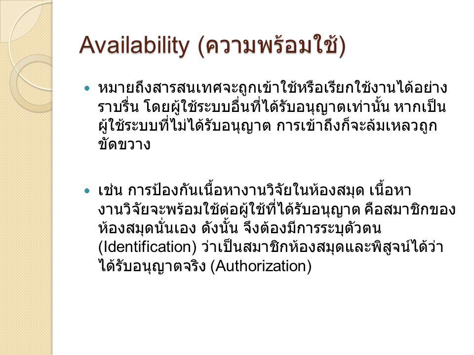 Availability (ความพร้อมใช้)