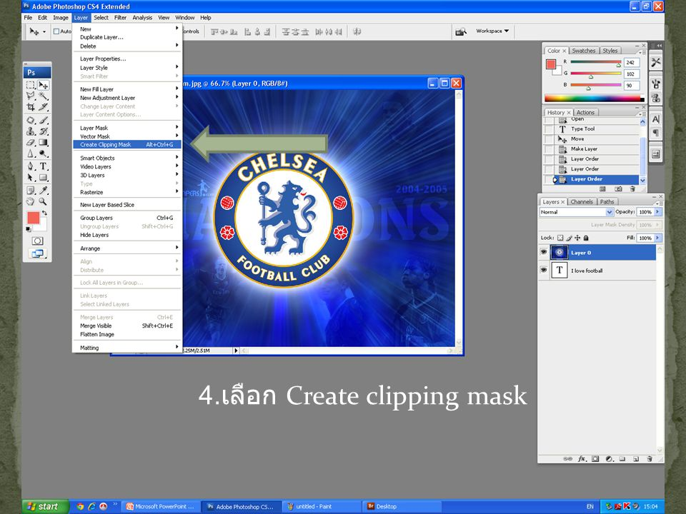 4.เลือก Create clipping mask