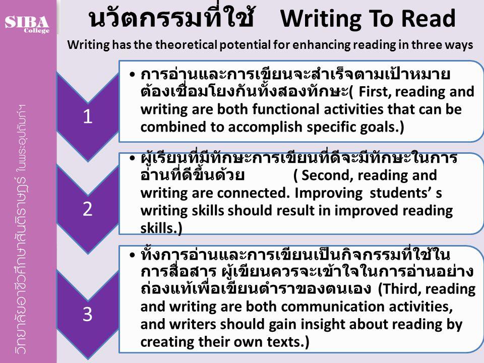 นวัตกรรมที่ใช้ Writing To Read