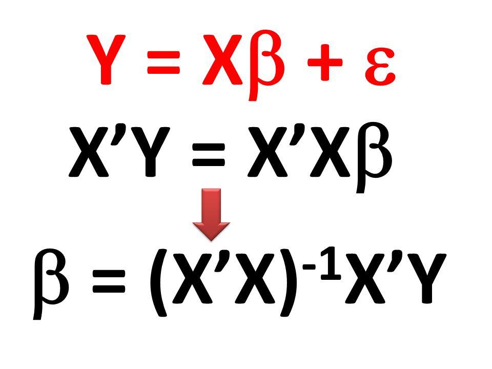 Y = X +  X'Y = X'X  = (X'X)-1X'Y
