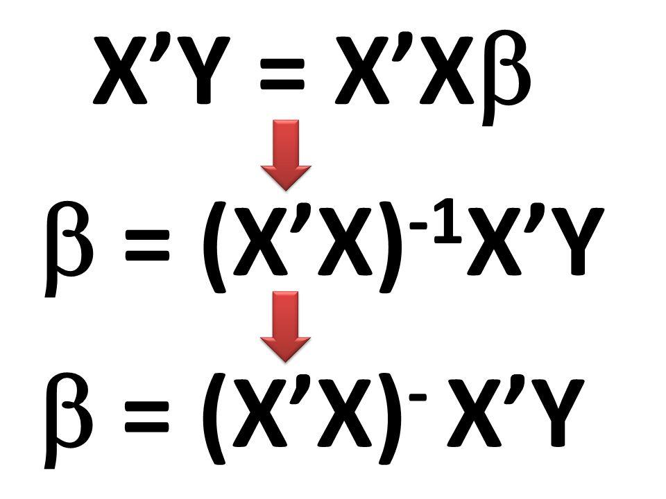 X'Y = X'X  = (X'X)-1X'Y  = (X'X)- X'Y