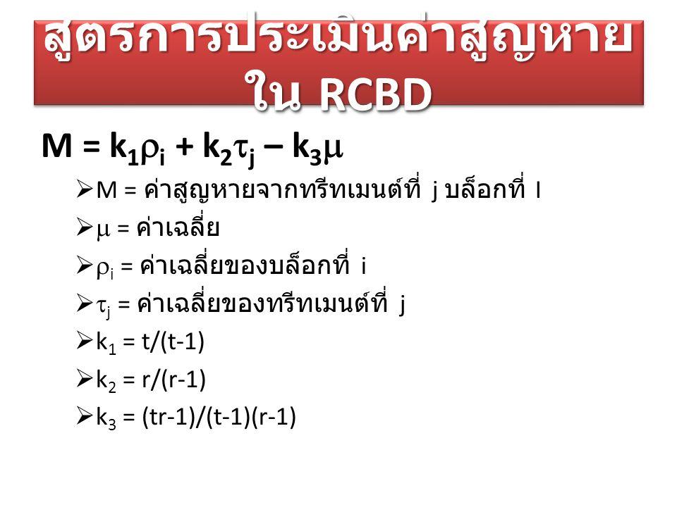 สูตรการประเมินค่าสูญหายใน RCBD