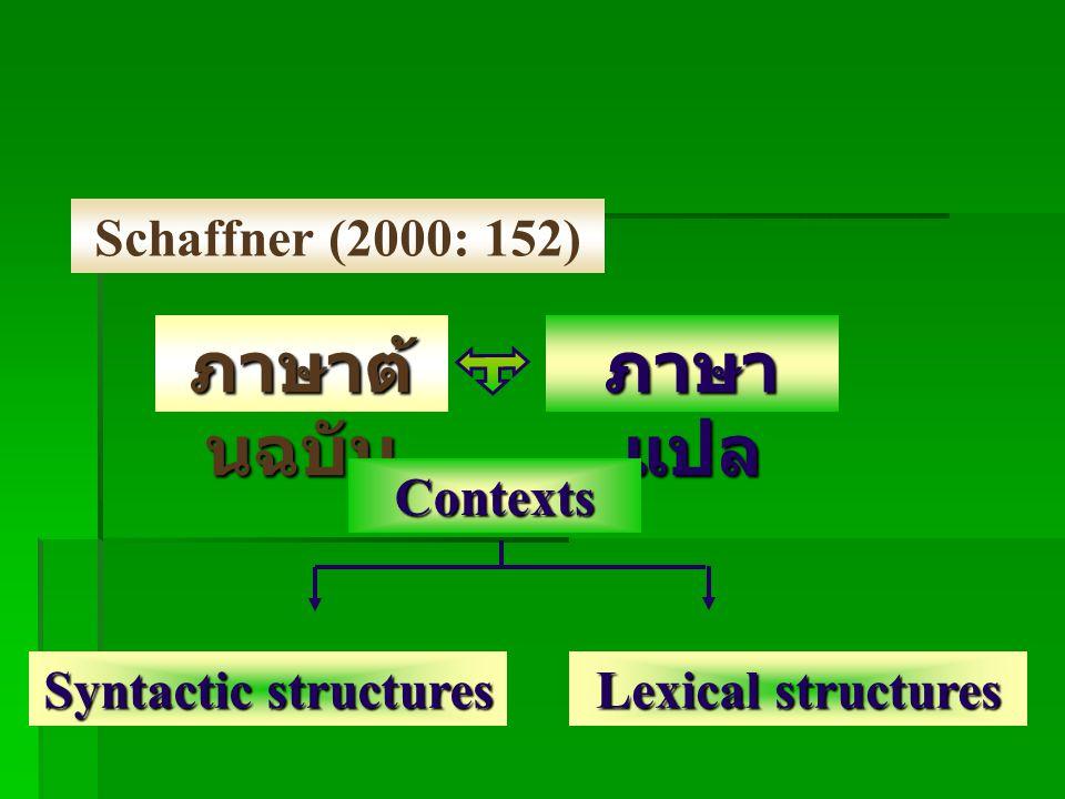 ภาษาต้นฉบับ ภาษาแปล Schaffner (2000: 152) Contexts