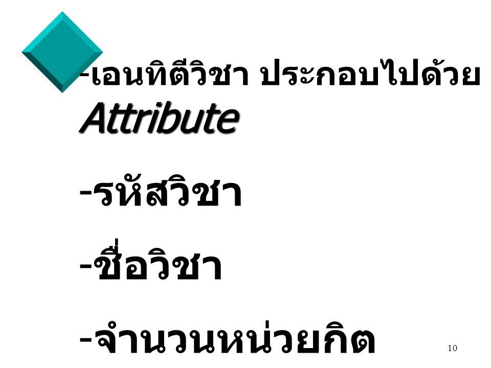 เอนทิตีวิชา ประกอบไปด้วย Attribute