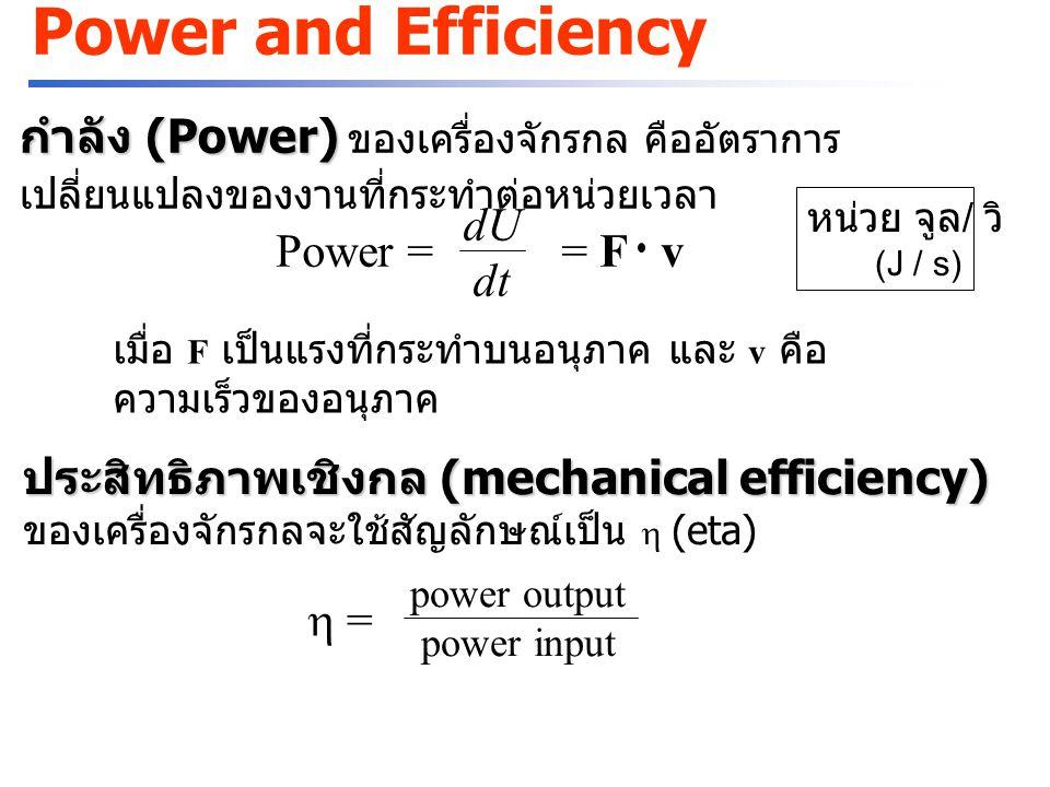 Power and Efficiency กำลัง (Power) ของเครื่องจักรกล คืออัตราการเปลี่ยนแปลงของงานที่กระทำต่อหน่วยเวลา.