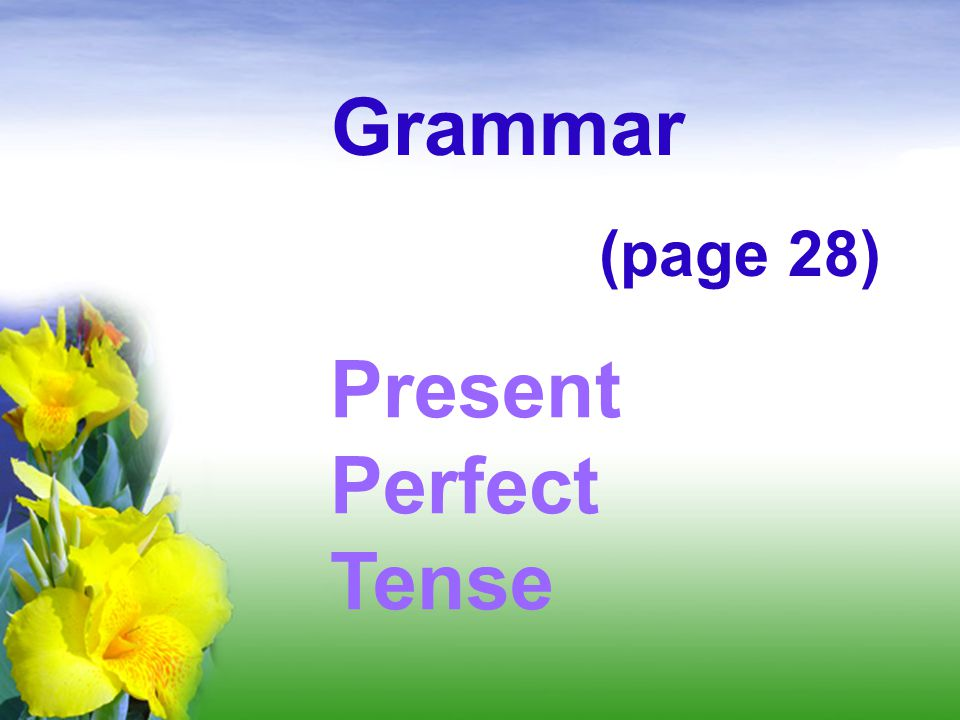 Grammar (page 28) Present Perfect Tense
