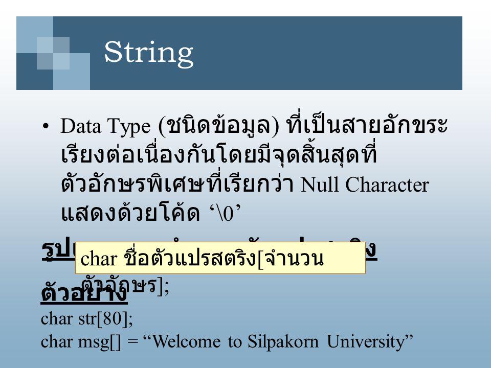 String รูปแบบการกำหนดตัวแปรสตริง ตัวอย่าง