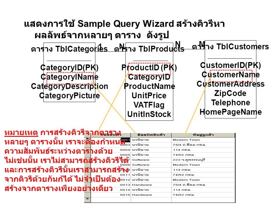 แสดงการใช้ Sample Query Wizard สร้างคิวรีหาผลลัพธ์จากหลายๆ ตาราง ดังรูป