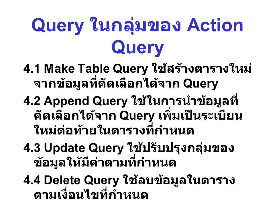 Query ในกลุ่มของ Action Query