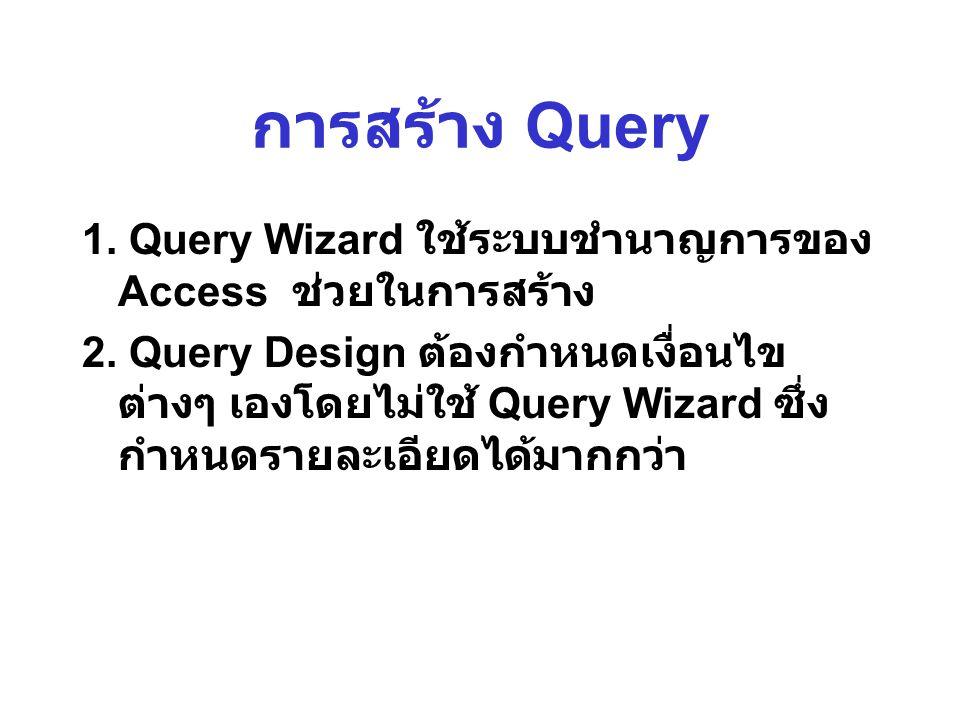 การสร้าง Query 1. Query Wizard ใช้ระบบชำนาญการของ Access ช่วยในการสร้าง.